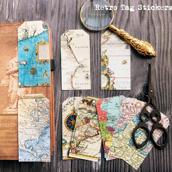 10pcs Retro Europe America Map Tags Vintage Hemisphere Label Decoration Sticker DIY Scrapbooking Diary Album Sticker Escolar