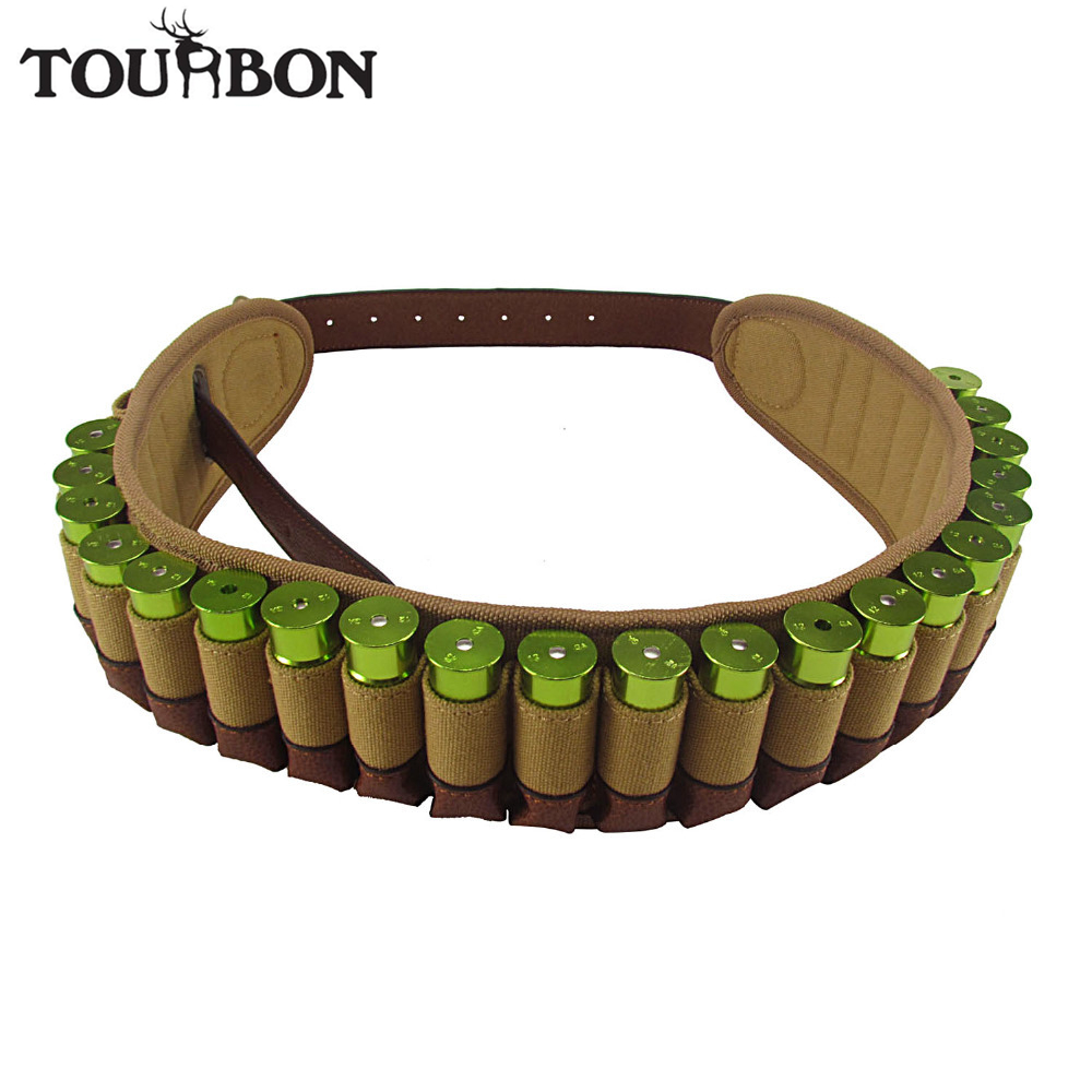 Tourbon Jakt Bandolier Shotgun 12 Gauge Bullet Cartridges Ammobälte Canvas Äkta Läder Ammunition Holder för Skytte