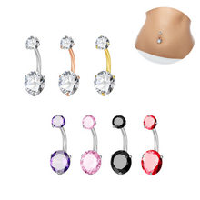 2018 Fashion New Style Navel Belly Rings Navel Piercing Sexy Body Jewelry Navel&Bell Button Rings AAA Crystal For Women(China)