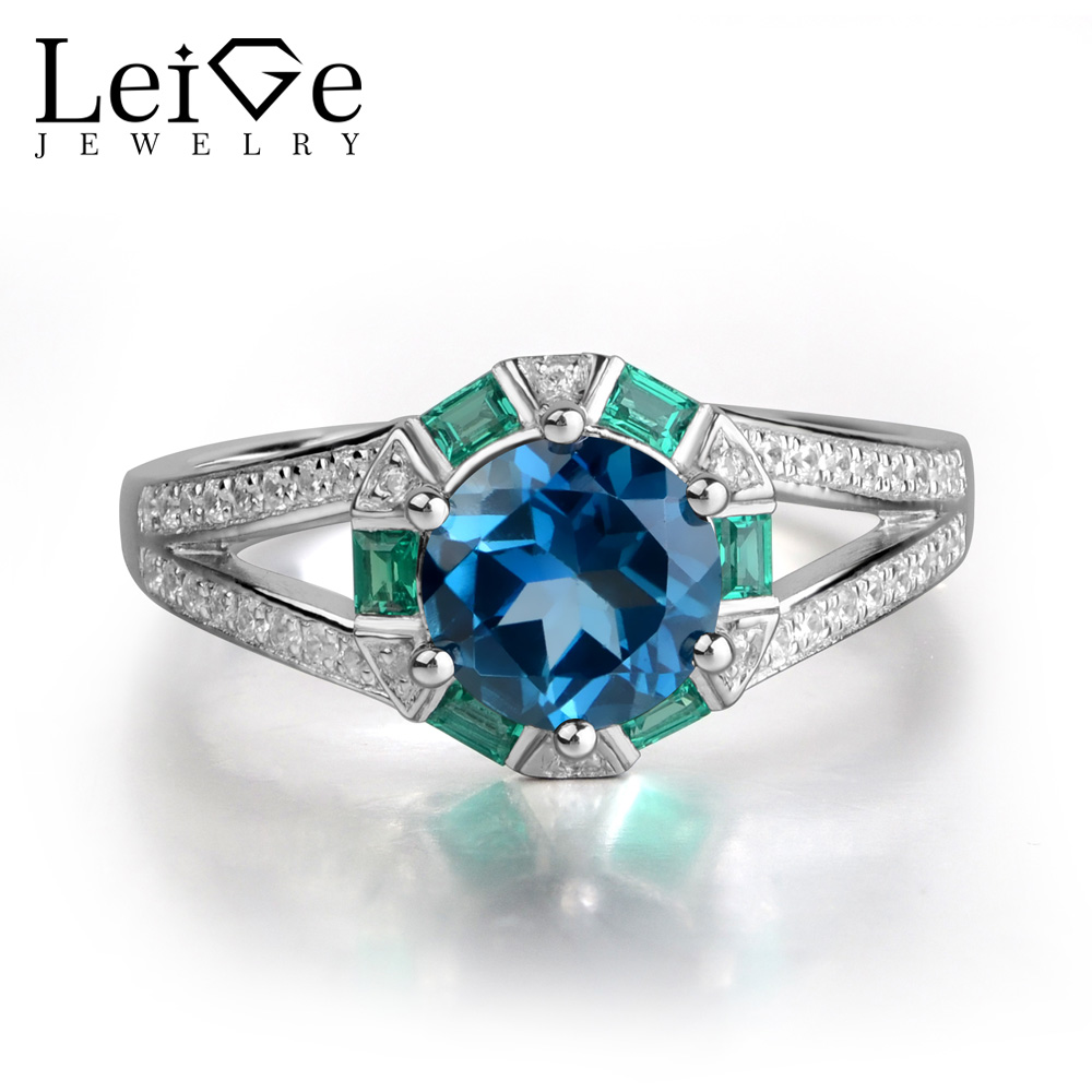 Leige Jewelry 925 Sterling Silver Rings London Blue Topaz Engagement Rings for Women Round Cut Prong Setting Gemstone Jewelry