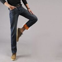 New Winter 2017 Men S Fashion Boutique Pure Color Fleece Warm Slim Leisure Retro Jeans Male
