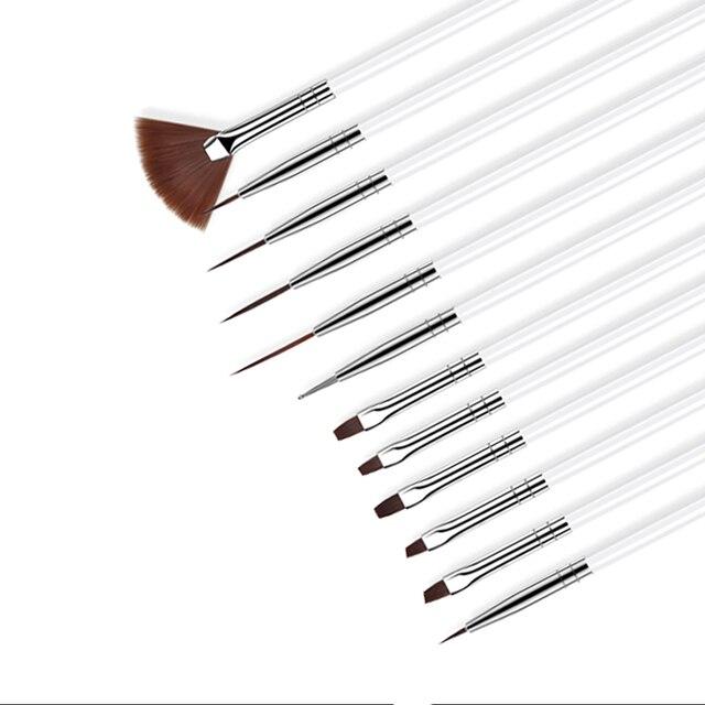 ROHWXY 12 PCS Acrylic Brush Nail Art Brush Carving Flower Nail Gel Pen UV Gel Drawing Painting Brush Handle Nail Art Tools 4