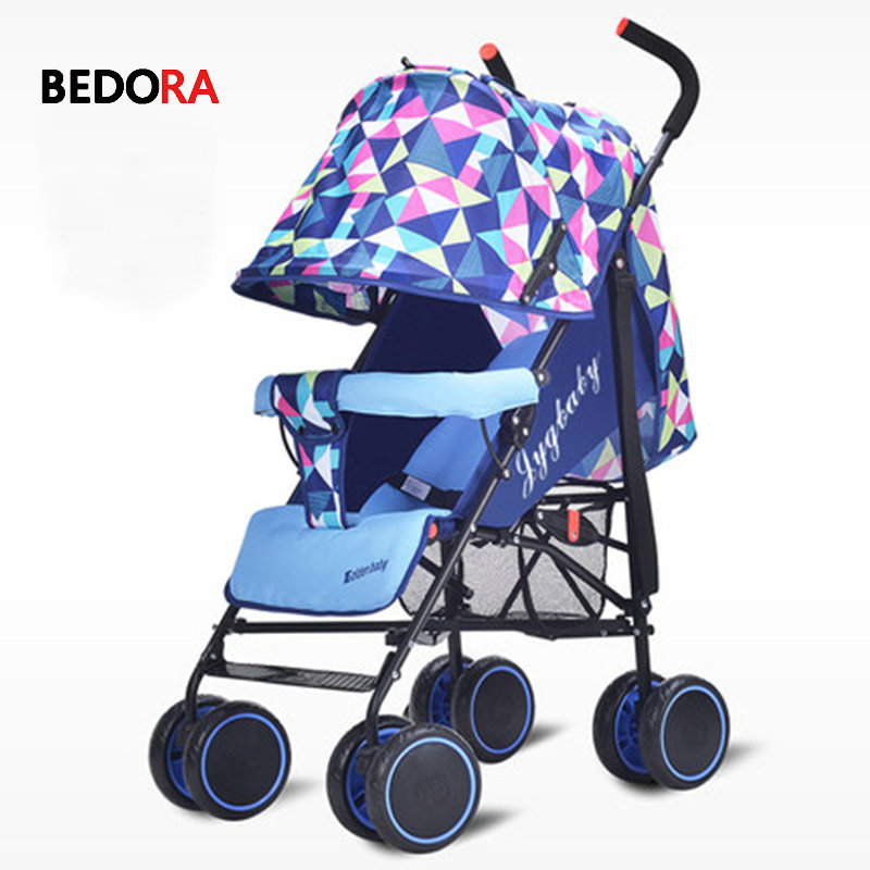Bedora baby stroller ultra light portable umbrella car can sit reclining folding simple four wheel baby child stroller aiqi light folding baby car umbrella ultra light portable summer child wheel baby stroller 5 8kg travel strollers brand baby