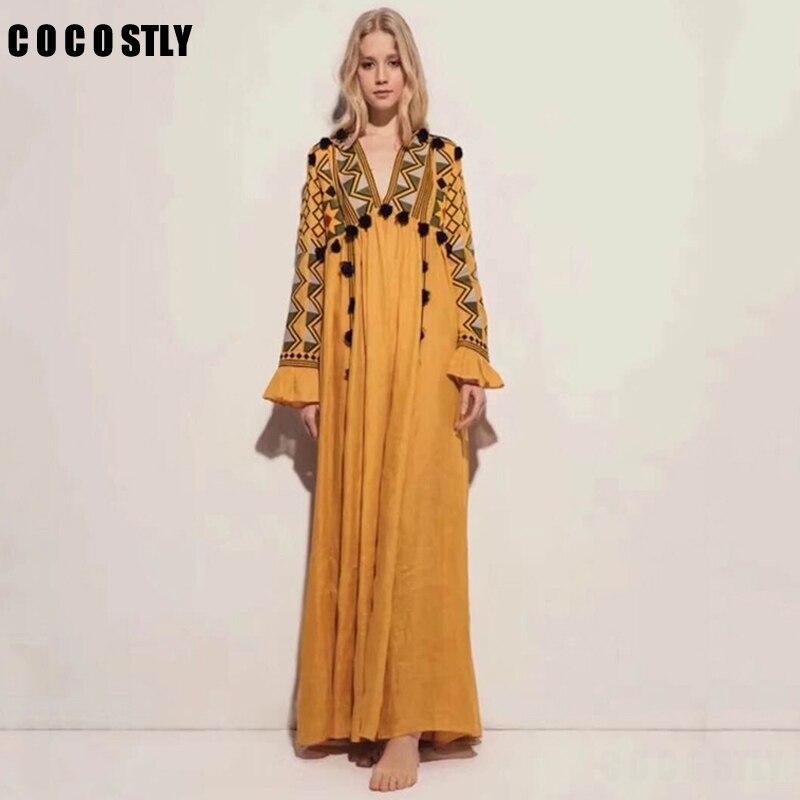 Vintage inspiré Ukraine brodé lin Maxi robe tassle avant v-cou à manches longues boho robe lâche longue robe femme vestido