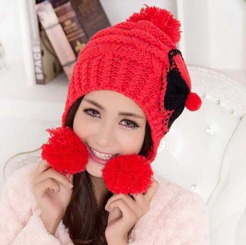 #3216 2017 New Warm Beanie Women's Cotton wool knitted Cap with pompon and ultra big bowknot in Winter Autumn