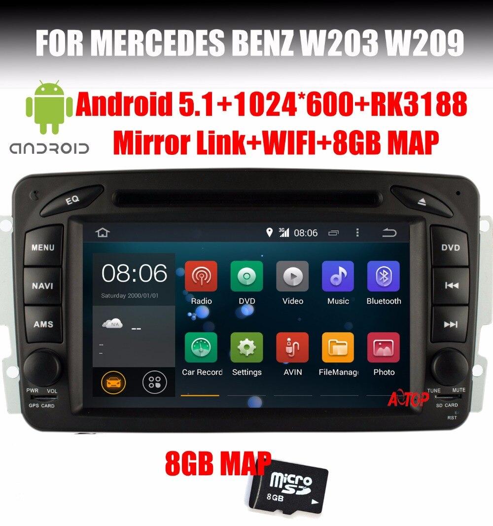 bilder für Auto-DVD GPS Für Mercedes Benz W203 W209 W203 C209 W693 W463 Viano Vito Android 7.1 Quad Core Spiegel link Radio BT Wifi SD