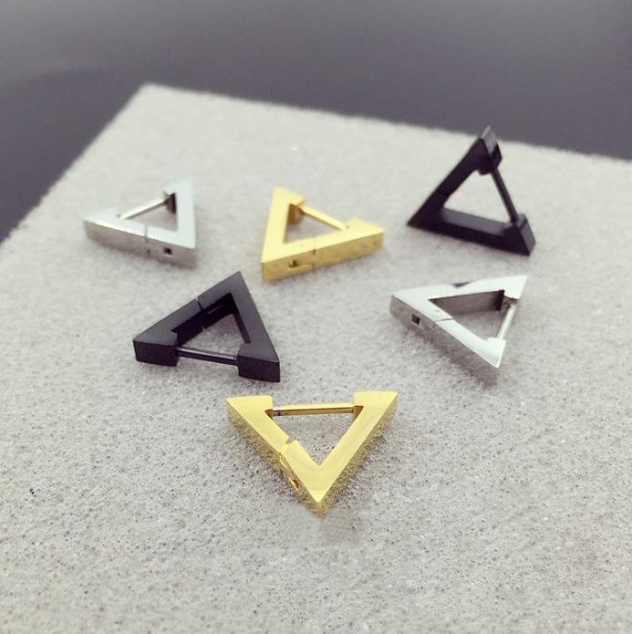 Hengke Fashion New Hoop Earring Heart Triangle Stainless Steel Ear Stud Men Women Body Piercing Jewelry