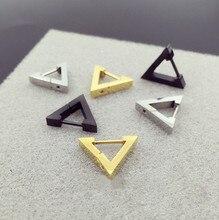Hengke moda nova argola brinco coração triângulo de aço inoxidável orelha do parafuso prisioneiro das mulheres dos homens corpo piercing jóias