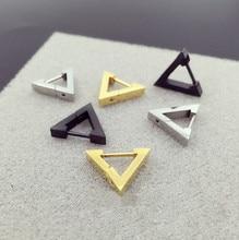 Женские и мужские кольца Hengke, серьги гвоздики из нержавеющей стали с треугольным сердечком, ювелирные изделия для пирсинга