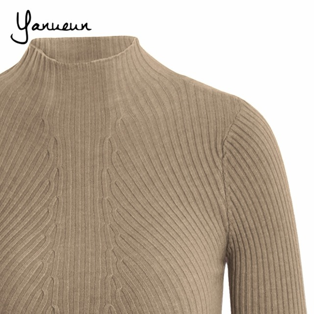 Yanueun Korean Fashion Women Pullovers Turtleneck Knit Shirt Long Sleeve Stretched Solid Sweater Tops 2016 Fall Winter Jumper 4