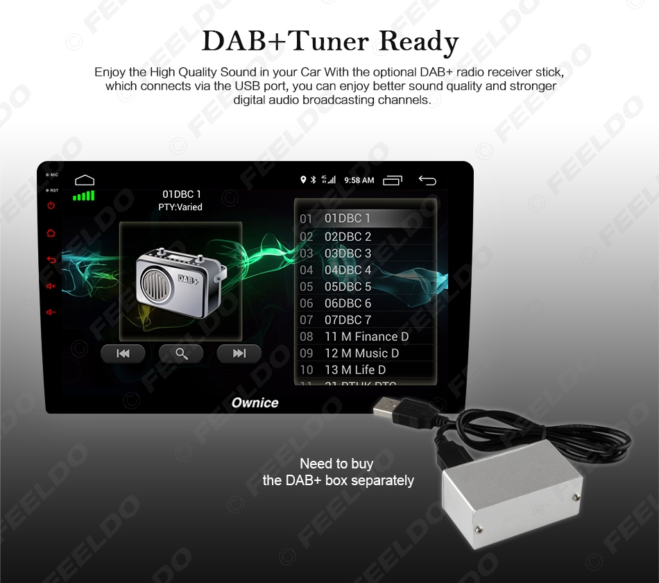 """Flash Deal FEELDO  10.1"""" Android 6.0 4-Core/DDR3 1G/16G/Support 4G Dongle Car Media Player With GPS/FM/AM RDS For Superb 2016 (Superb B8) 12"""