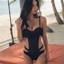 Black Sexy 2018 One Piece Swimsuit Women Push Up Swimwear Bandage Bathing Suit Maillot De Bain Femme