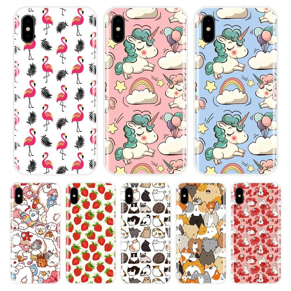 Phone Case for iPhone X 8 7 6 6S Soft Silicone TPU Cute Unicorn Painted Back Cover for Apple iPhone X 10 8 7 6 6S Plus Case
