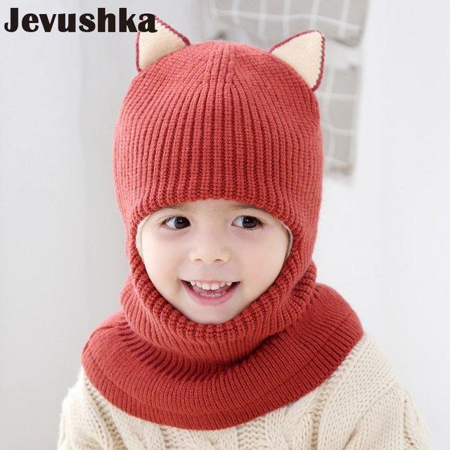 7ac3fe8302aab Winter Children Hats Knitted Baby Girls and Boys Hat with Warm Fleece Lining  Cute Cat Ears Hats for Kids HT073