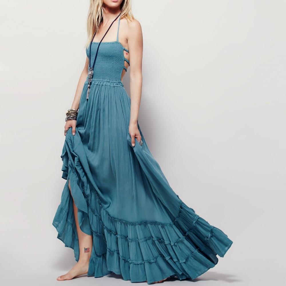 2016 summer Beach dress sexy dresses boho bohemian people Holiday long backless cotton women party hippie vestidos maxi dress