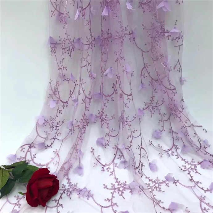 Тюль кружевная ткань 3D цветок Высококачественная белая кружевная ткань с красивой аппликацией нигерийская кружевная ткань для свадьбы серый фиолетовый белый