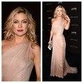 Custom Made 2016 Kate Hudson tapete vermelho longo Chiffon de um ombro mangas vestido longo celebridade vestido de noite