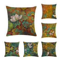 Chinese Retro Painting Style Lotus Cushion Covers Office Car Sofa Chair Home Decoration Lotus leaf Pillow Case ZY188(China)