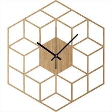 Cube Inspired Wooden Wall Clock Silent Non Ticking Wood Clock Minimalist Geometric Clock Kitchen – Living Room – Bedroom Decor