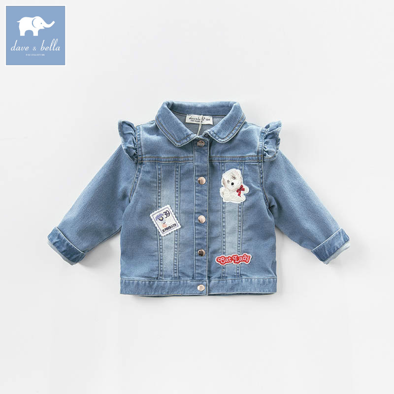 DB7100 dave bella spring baby girls denim jacket kids coat children high quality clothes