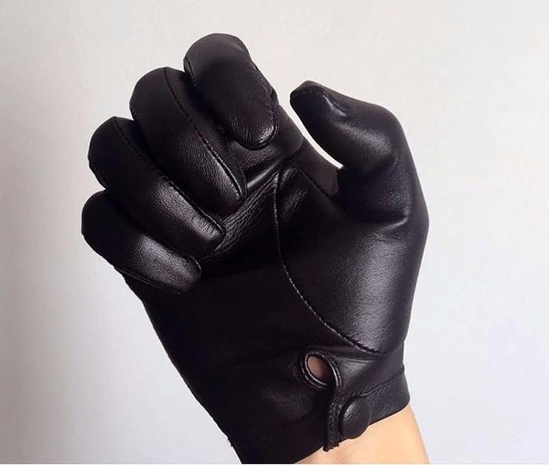 Calharmon hommes une pièce entière de cuir poignet bouton top gants en cuir noir - 4