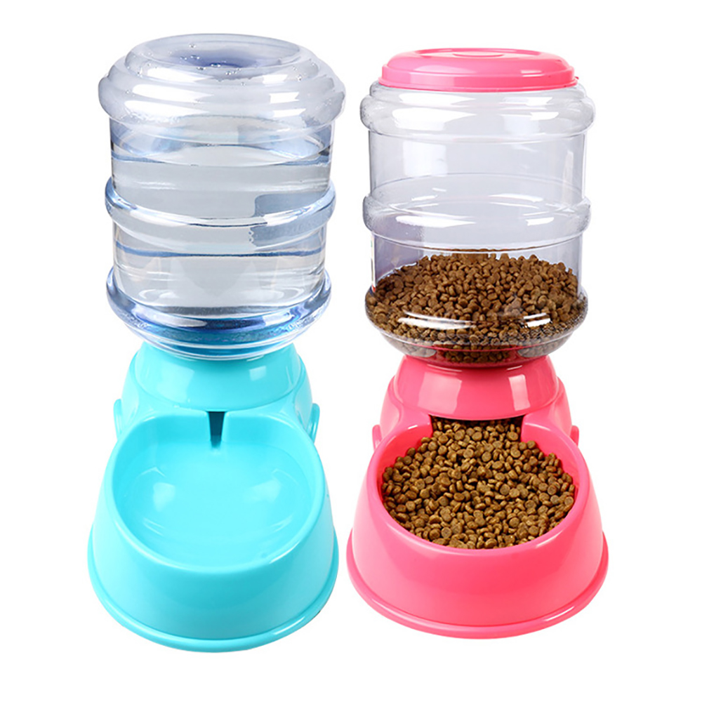 3.5L Large Automatic Pet Feeder Fountain Water Food Dispenser Capacity Waterer Dog/Cat Bowl