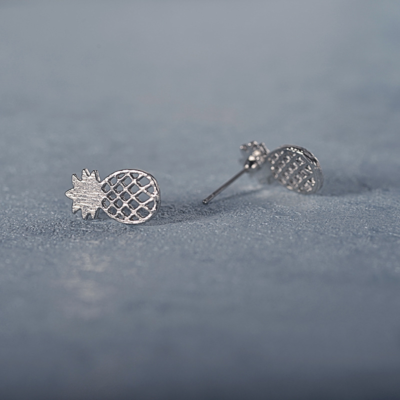 Fine Women Stainless Steel Cute Stud Earrings Girls Animal Pineapple cactus Cat Earrings Minimalist Jewelry
