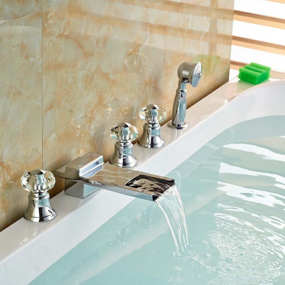 Luxury Widespread Waterfall Bath Tub Faucet Taps Deck Mount Roman ...