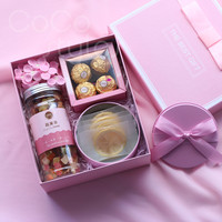 Cocostyles custom fashion pink healthy paper gift box with flower and lemon fruit tea for surprise birthday gift