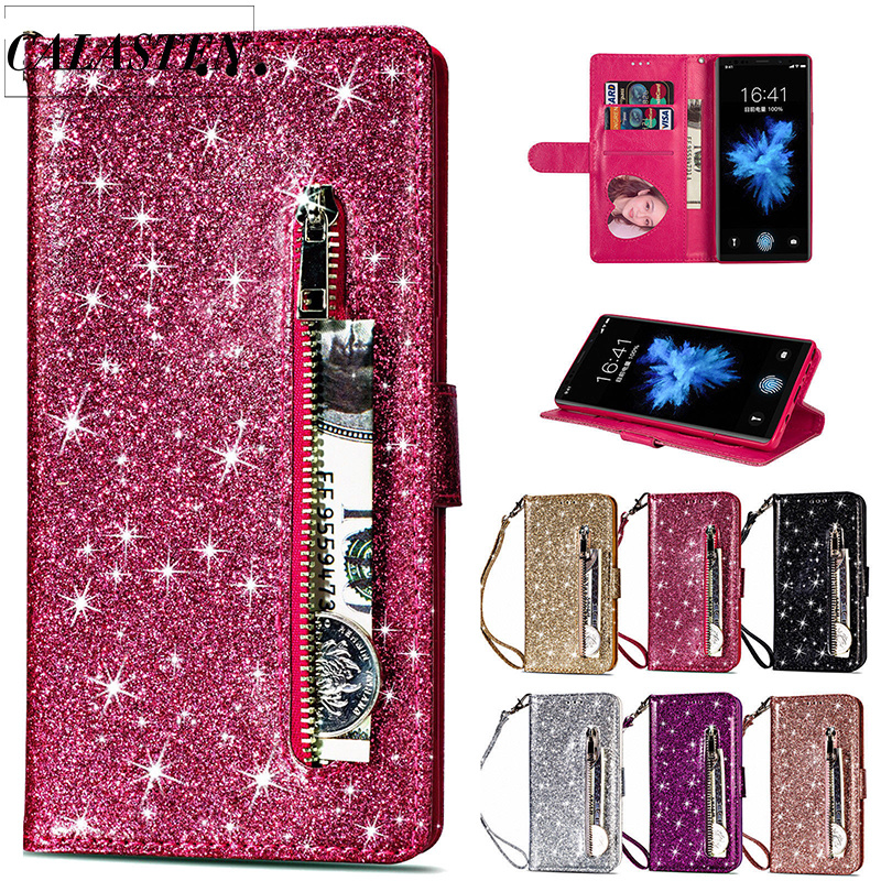 Bling Glitter <font><b>Case</b></font> For <font><b>Samsung</b></font> Galaxy S10e Note 8 9 S10 Plus S9 S8 Plus <font><b>S7</b></font> Edge S6 Leather <font><b>Flip</b></font> Stand Zipper Wallet Cover Coque image