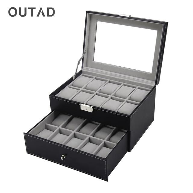 OUTAD 20 Grids Jewelry Box Watches Storage Display Casket Organizer