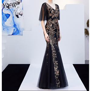 Image 5 - Black Mesh & Gold Floral Sequined V Neck Mermaid Dress Luxury Formal Evening Party Long Dress Batwing Sleeve Sexy Nightclub Wear