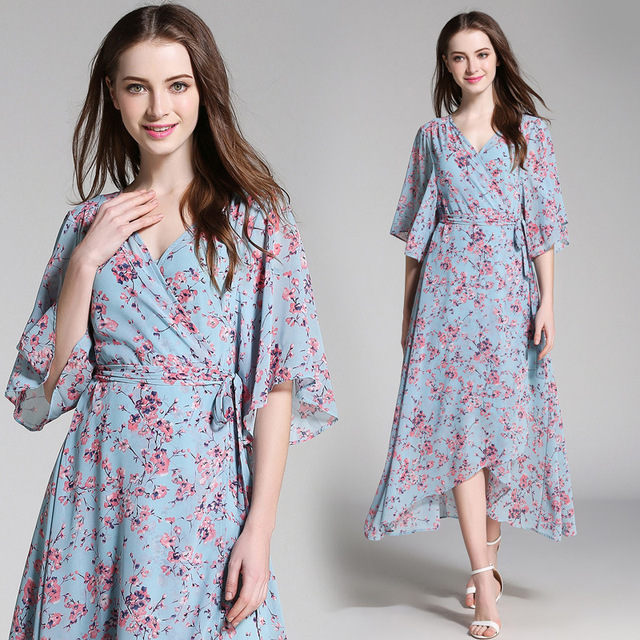 ad03de05ded New European Fashion V-neck Long Bohemian Dress Romantic Floral Print Light  Blue Summer Dress Women Chiffon Maxi Dress