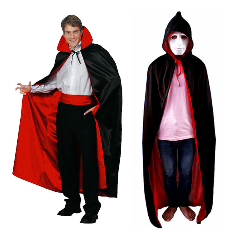 Red Black Halloween Decoration Costume Cloaks Hood Capes Fancy Ball Clothing Home Bar Party Props For Men Children Adult Clothes
