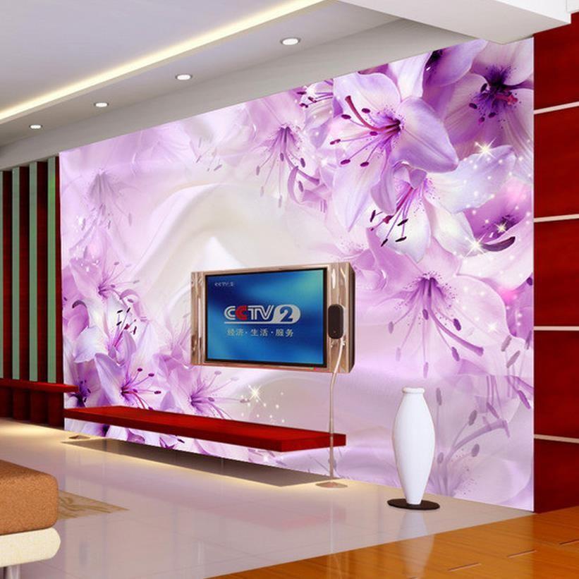 Custom 3D Photo Wallpaper Simple Modern Lily Flower TV Background ...