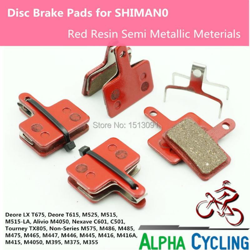 Pastillas de freno de disco de bicicleta MTB para SHIMANO M375 M395 M486 M485 M475 M416 M446 M515 M445 M525 Freno de disco, color ROJO, 4 pares