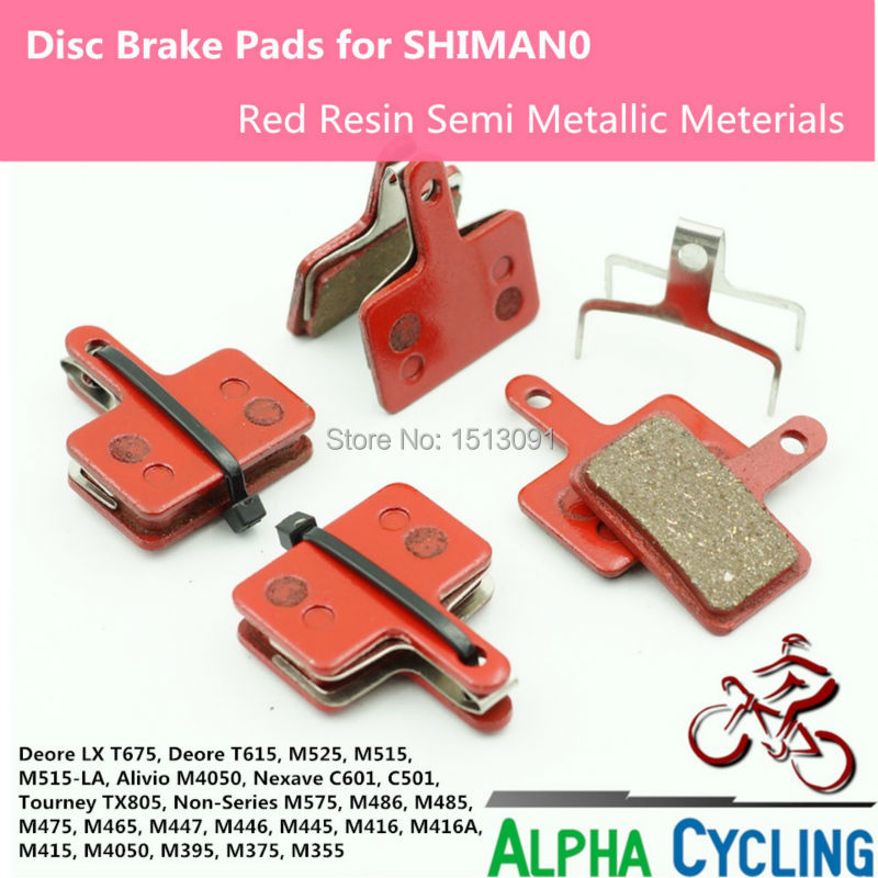 2 Pair 4 PCS Set Bicycle Resin Disc Brake Pads For Shimano M375 M445 M446
