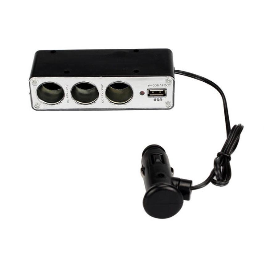 Calidad Superior USB Cargador de la Fuente + Triple Enchufes Encendedor Del Coch