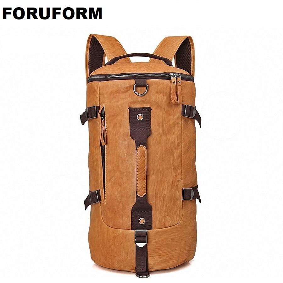 High Quality 100% Genuine Leather Bucket Backpack Fashion Men Travel Bags Brand Design 15.6 Inch Laptop School Backpacks LI-1680 high quality england vintage style genuine leather men backpacks for college school backpacks for 14 inch laptop bags 9024