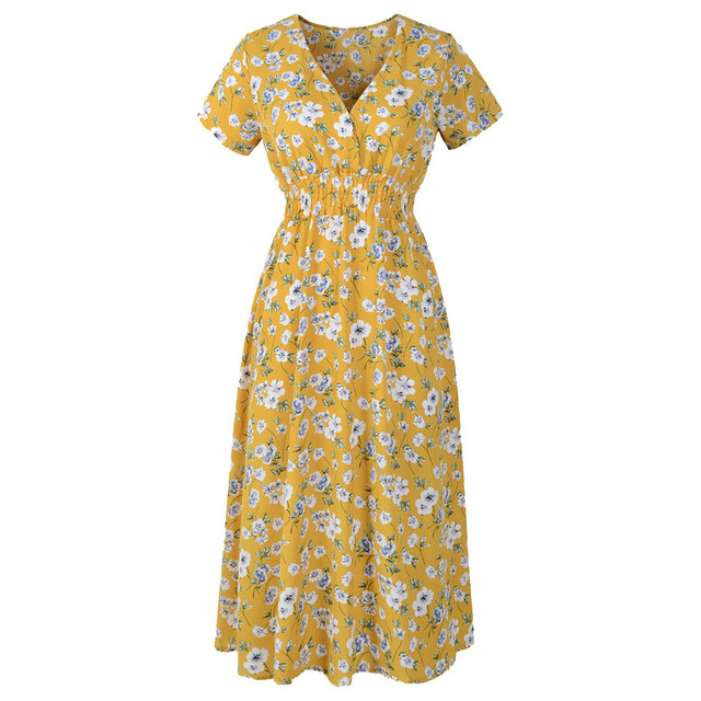SAGACE Floral Print Dress Knee-Length Flower Girl Dress Plus Size Women V-neck Dresses Summer Elegant Sheath Dresses