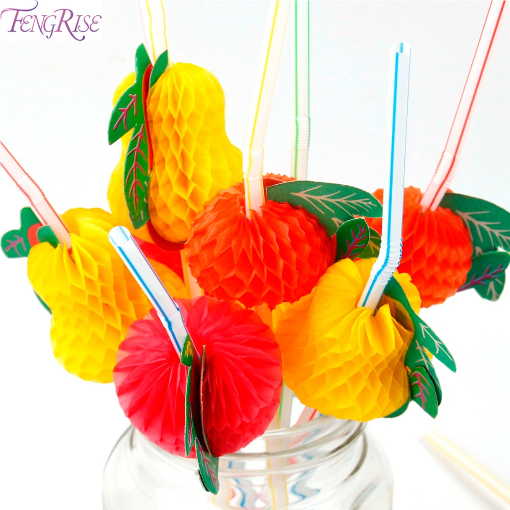 FENGRISE 50 Pieces Party Flexible Straw Fruit Plastic Drinking Straw Cocktail Hawaiian Theme Party Wedding Birthday Decoration