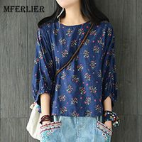 Mferlier Women Summer Arty Floral Print Shirts O Neck Batwing Sleeve Loose Casual Retro Womens Tops