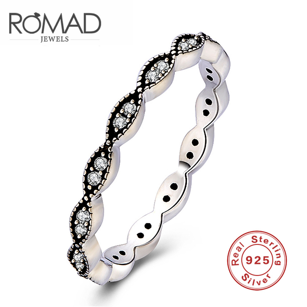 ROMAD Delicate AAA Cubic Zircon Thin Silver Ring 925 Sterling Women Finger Ring Ladies Jewelry Vintage Anel7