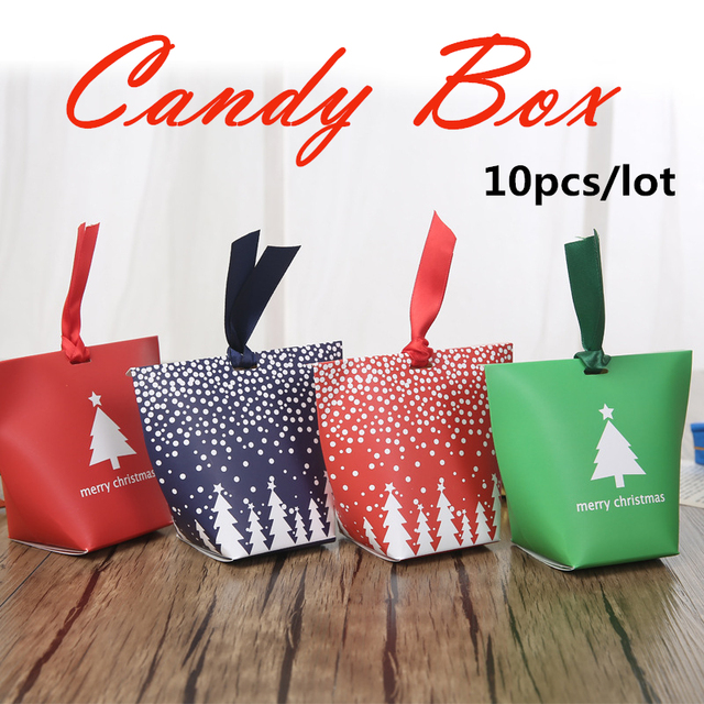 Us 2 9 10pcs Lot Christmas Gift Boxes Christmas Elements Gift Paper Box Candy Bag Christmas Decorations In Stockings Gift Holders From Home