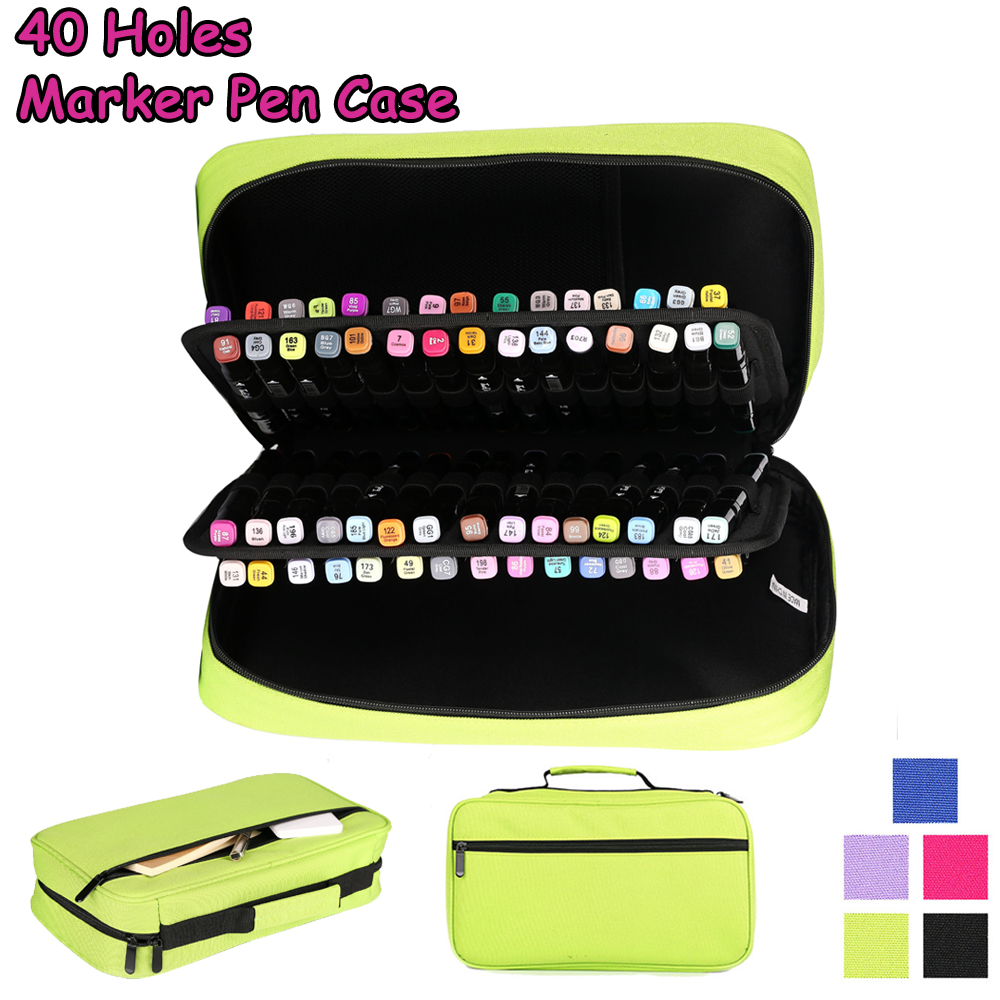 40 Holes Fold Marker Pen Case Large Capacity Oxford Handbag Marker Bag Pen Box Student Stationery Art Supplies Estuche Escolar pen bag female korean simple creative pu handbag cosmetic bag stationery simple large capacity student pencil case