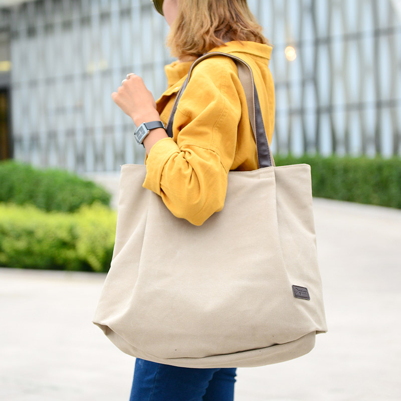 Bolsa de asas de lona de moda bolso de las mujeres bolsas de hombro - Bolsos - foto 6