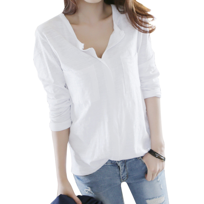 Knitted Korean Cotton Long sleeved T shirt Casual Shirt