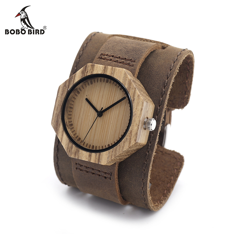 Женские кварцевые часы с бамбуковым циферблатом, в кожаном ремешке