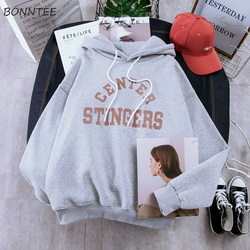 Hoodies Women Large Size Leisure Letter Printed Long Sleeve Hooded Womens Pullover Soft Cotton Korean Style Ladies Sweatshirts 5