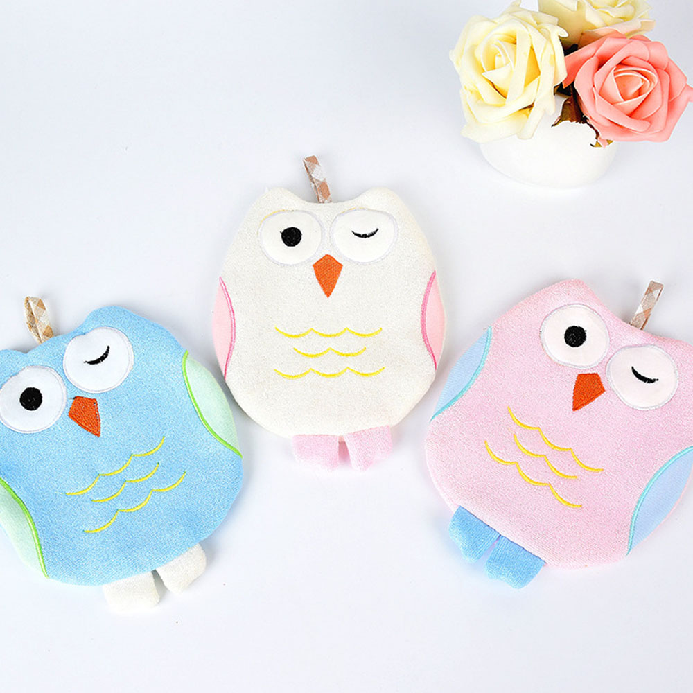 Children Cartoon Owl Bath Rub Gloves Shower Body Wash Puff Mesh Net Ball Bathroom Daily Use Cleaning Supply ...